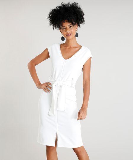 28dfc8a73 Menor preço em Vestido Feminino Curto com Decote V e Pespontos Sem Manga  Off White