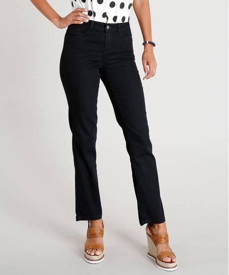 982406e28 Calca-Jeans-Feminina-Reta-Cintura-Media-Preta-9417808-
