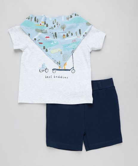 Conjunto-Infantil-de-Camiseta-Manga-Curta-Cinza-Mescla-Claro---Bermuda-em-Moletom---Babador-Estampado-Azul-Claro-9205078-Azul_Claro_1