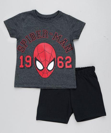 Conjunto-Infantil-Homem-Aranha-de-Camiseta-Manga-Curta-Cinza-Mescla-Escuro---Bermuda-em-Moletom-Preta-9429376-Preto_1