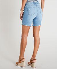 6ee1a5d705 Bermuda Jeans Feminina com Barra Desfiada Azul Claro - ceacollections