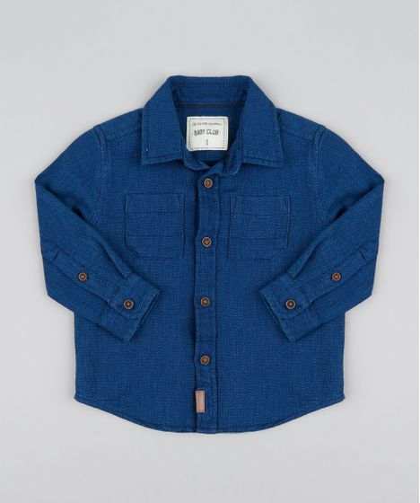 a566948230a1a Camisa Infantil Chambray Texturizado Manga Longa Azul Escuro - cea