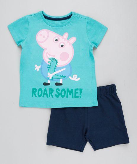 Conjunto-Infantil-George-Pig-de-Camiseta-Manga-Curta-Verde---Bermuda-em-Moletom-Azul-Marinho-9429374-Azul_Marinho_1