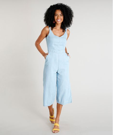 5dda0aa9c8 Macacão Jeans Pantacourt Feminino com Bolsos Azul Claro - cea