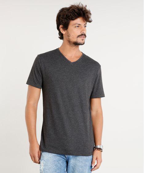 2ee90d620 Camiseta Masculina Básica Manga Curta Gola V Cinza Mescla Escuro - cea