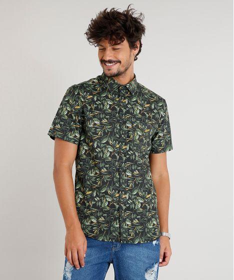 11d62550dc Camisa Masculina Estampada de Folhagem com Bolso Manga Curta Preta - cea