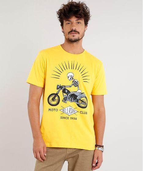 Camiseta Masculina Caveira com Motocicleta Manga Curta Gola Careca ... 38bc58537eb