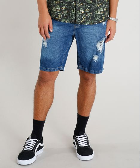 bcf5d1647 Bermuda-Jeans-Masculina-Slim-Destroyed-Azul-Medio-9335202- ...