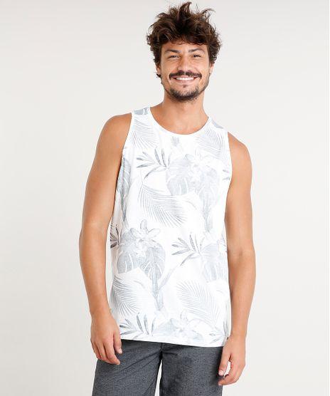 Regata-Masculina-Estampada-de-Folhagem-Gola-Redonda-Off- 2bf89f83829