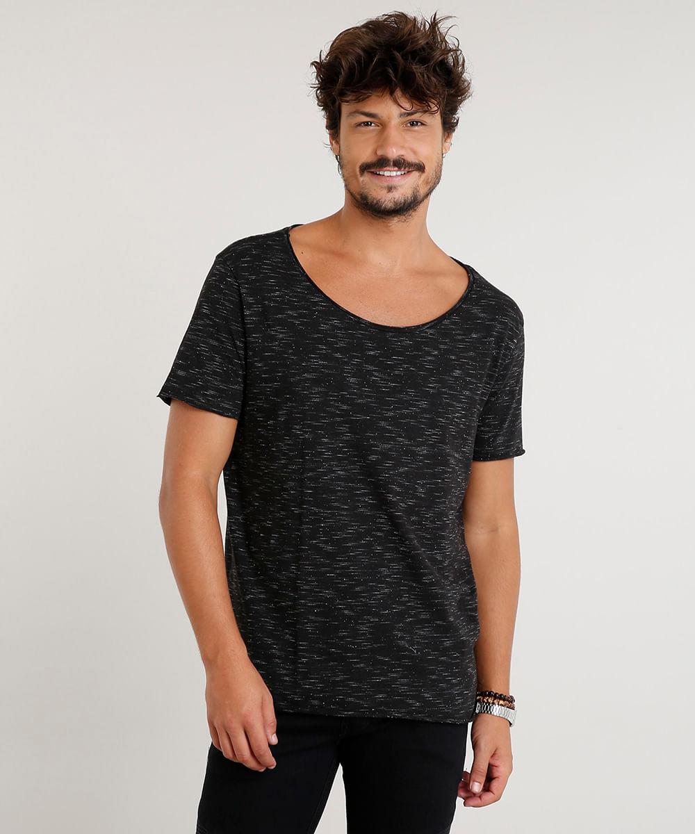 53d84a2ff Camiseta Masculina Longa Manga Curta Gola Canoa Preta - cea