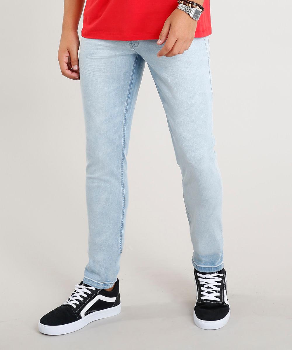 c03ba4c67 Calça Jeans Masculina Slim com Cadarço Azul Claro - cea