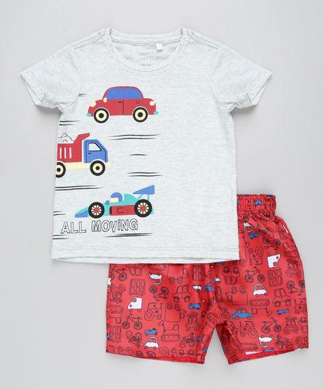 Conjunto-Infantil-de-Camiseta-Carros-Manga-Curta-Cinza-Mescla-Claro---Bermuda-Estampada-Vermelha-9428683-Vermelho_1