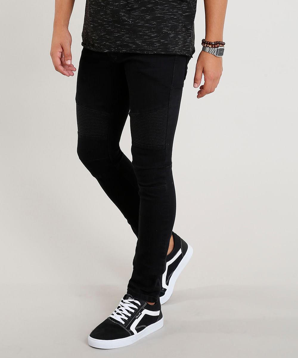 3ee19cf34 ... Calca-Jeans-Masculina-Skinny-com-Recortes-Preta-9382201-