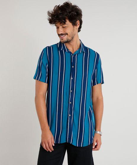 Camisa-Masculina-Listrada-Manga-Curta-Verde-9398333-Verde_1