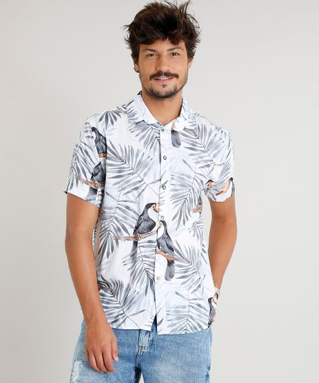 Camisa-Masculina-Estampada-de-Tucanos-Manga-Curta-Branca-9398331-Branco_1