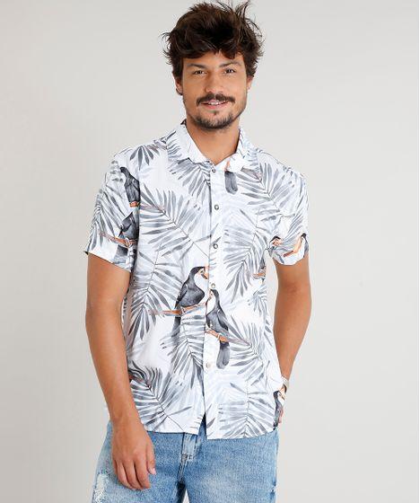 5952e2f35a Camisa Masculina Estampada de Tucanos Manga Curta Branca - cea