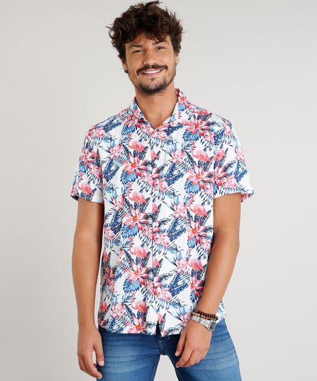 Camisa-Masculina-Estampada-de-Folhagem-com-Flamingos-Manga-Curta-Branca-9471548-Branco_1