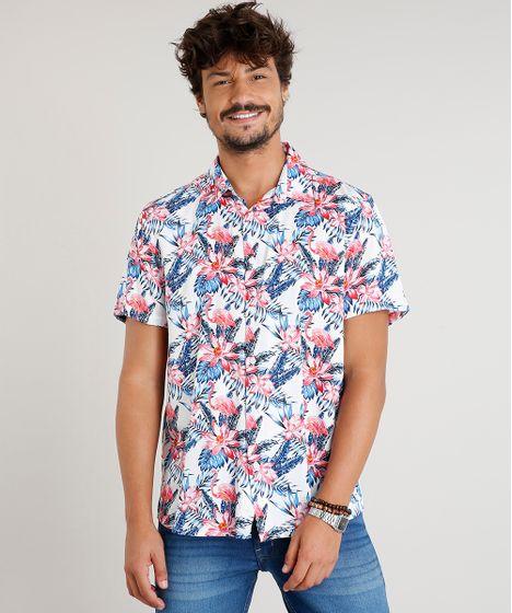 bfa8c24587 Camisa Masculina Estampada de Folhagem com Flamingos Manga Curta ...