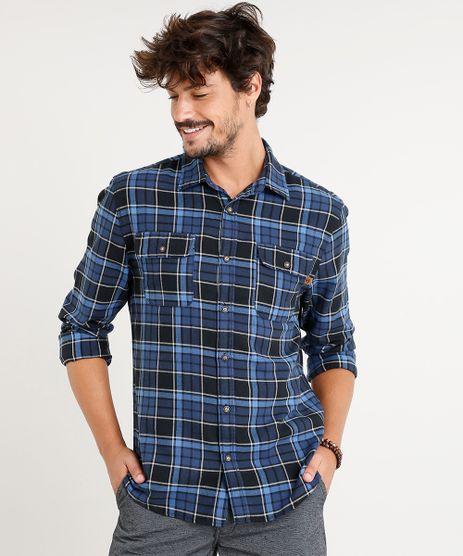 Camisa-Masculina-Flanela-Estampada-Xadrez-com-Bolsos-Manga-Longa-Azul-Marinho-9365239-Azul_Marinho_1