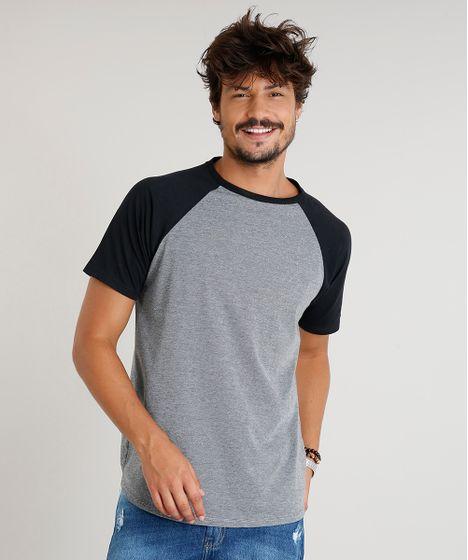 66ee54036c Camiseta Masculina Raglan Manga Curta Gola Careca Cinza Mescla - cea