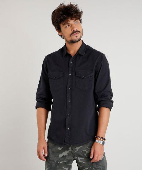 Camisa-de-Sarja-Masculina-com-Bolsos-Manga-Longa-Preta-9393925-Preto_1