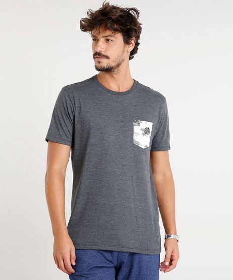 Camiseta-Masculina-com-Bolso-Estampado-de-Folhagem-Manga-Curta-Gola-Careca-Cinza-Mescla-Escuro-9396810-Cinza_Mescla_Escuro_1