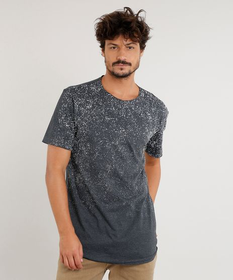 Camiseta-Masculina-Longa-com-Respingos-Manga-Curta-Gola-Careca-Cinza-Mescla-Escuro-9471923-Cinza_Mescla_Escuro_1
