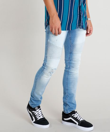 310649b677 Calca-Jeans-Masculina-Skinny-com-Recortes-Azul-Claro-