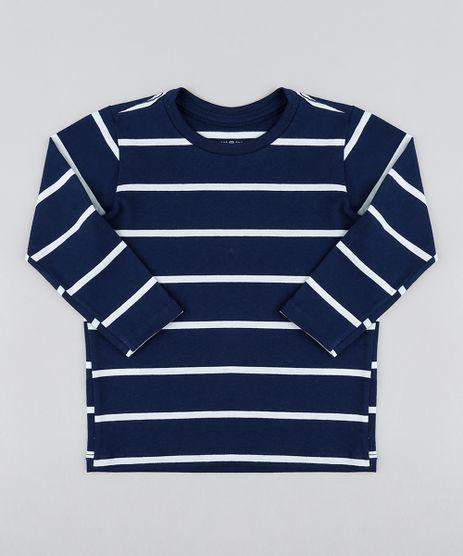 Camiseta-Infantil-Listrada-Manga-Longa-Gola-Careca-Azul- 4ef24534ea7cb
