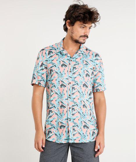 3d1d13a885 Camisa Masculina Estampada de Folhagem com Bolso Manga Curta Coral - cea