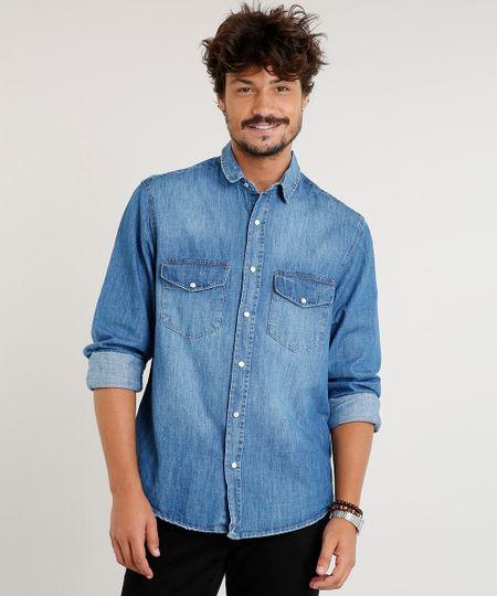 4c9272ec65 Menor preço em Camisa Jeans Masculina com Bolsos Manga Longa Azul Médio