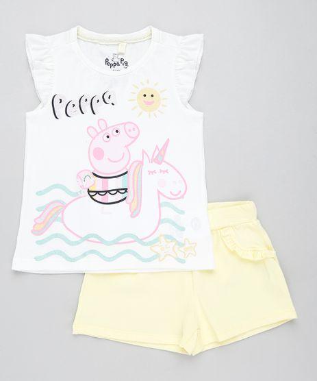 Conjunto-Infantil-Peppa-Pig-de-Regata-Off-White---Short-com-Babado-Amarelo-9437951-Amarelo_1