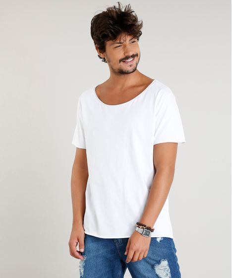 d9e4516dd cea · Moda Masculina · Camisetas. Camiseta-Masculina-Longa-Manga-Curta-Gola- Canoa-Branca- ...