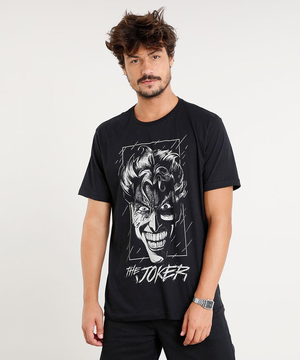 0d14c9d593 Camiseta Masculina Coringa Manga Curta Gola Careca Preta - cea