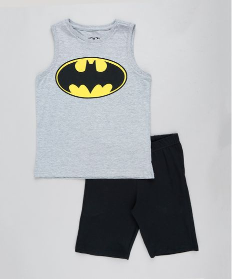Conjunto-Infantil-Batman-de-Regata-Cinza-Mescla---Bermuda-em-Moletom-Preta-9243542-Preto_1