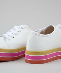 b63b29919ca ... Tenis-Feminino-Flatform-Moleca-com-Solado-Colorido-Branco- ...