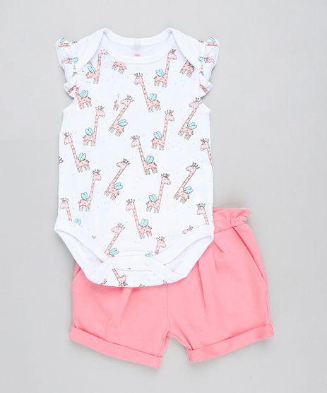 Conjunto-Infantil-de-Body-Girafa-Sem-Manga-Branco---Short-em-Moletom-Rosa-9201693-Rosa_1