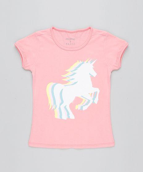 Blusa-Infantil-Unicornio-com-Glitter-Manga-Curta-Decote-Redondo-Rosa-9412216-Rosa_1