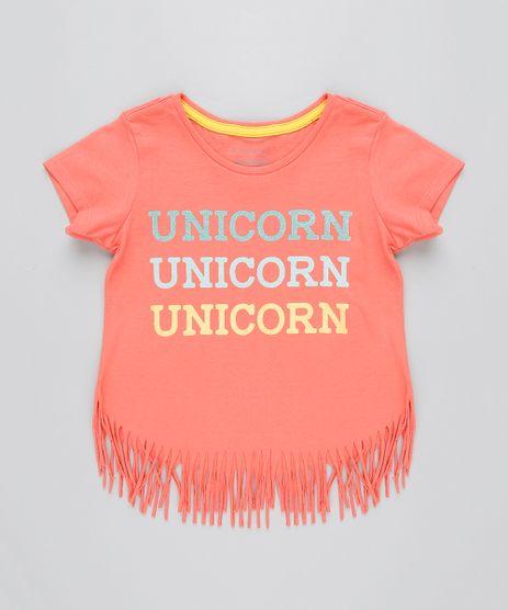 Blusa-Infantil--Unicorn--com-Franjas-Manga-Curta-Decote-Redondo-Coral-9407405-Coral_1