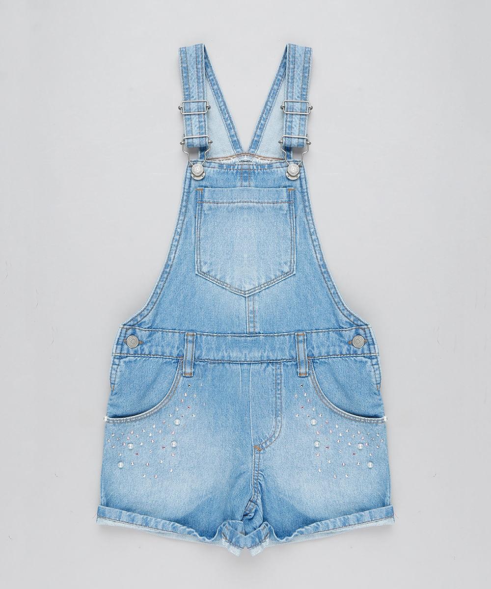 3548199410 Jardineira Jeans Infantil com Pérolas e Strass Azul Claro - cea