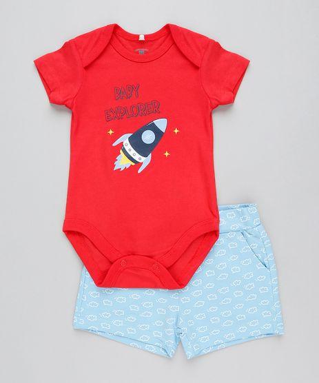Conjunto-Infantil-de-Body--Baby-Explorer--Manga-Curta-Vermelho---Bermuda-Estampada-em-Moletom-Azul-Claro-9201699-Azul_Claro_1