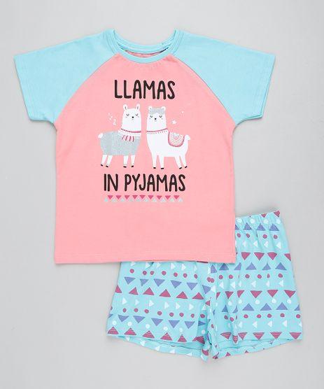 Pijama-Infantil-Raglan-Lhama-Manga-Curta-Coral-9416404-Coral_1