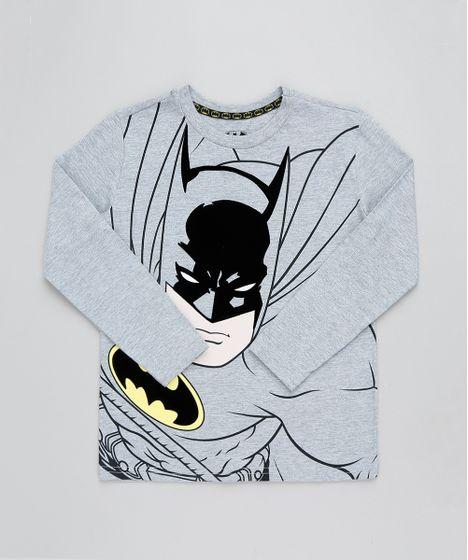 1efedddb17 Camiseta Infantil Batman Manga Longa Gola Careca Cinza Mescla - cea