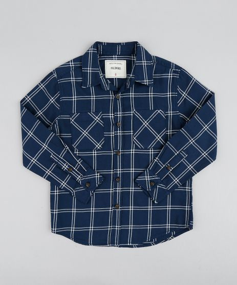 Camisa-de-Flanela-Infantil-Xadrez-Manga-Longa-Azul-Marinho-9367631-Azul_Marinho_1