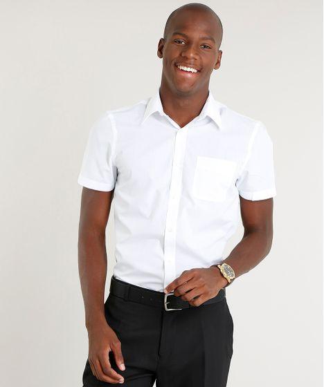 2136b4f6e Camisa Masculina Comfort com Bolso Manga Curta Branca - cea