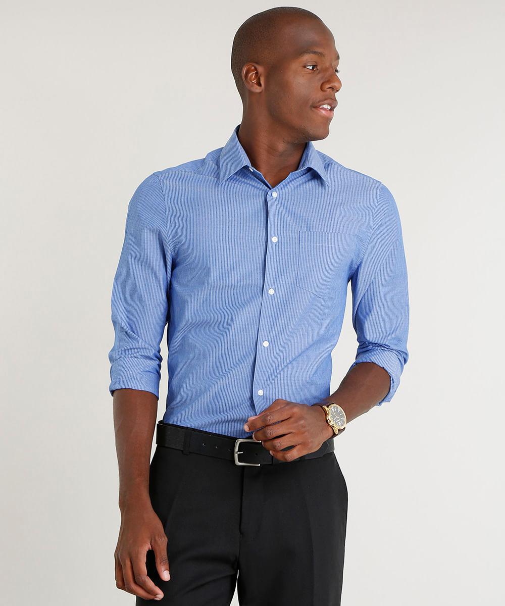 d3a79b4db8 Camisa Masculina Comfort Listrada com Bolso Manga Longa Azul - cea