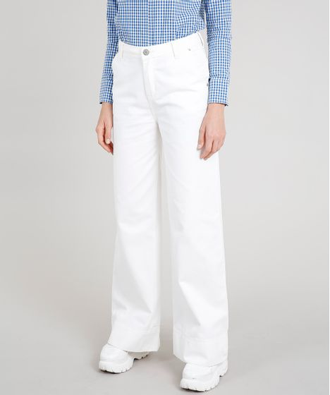 f73c84894 Calça de Sarja Feminina Mindset Pantalona Cintura Alta Off White - cea