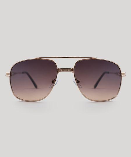 dfefa3f9a Menor preço em Óculos de Sol Quadrado Masculino Oneself Dourado - Único