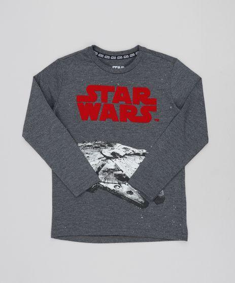 Camiseta-Infantil-Millennium-Falcon-Star-Wars-Manga-Longa-Gola-Careca-Cinza-Mescla-Escuro-9425939-Cinza_Mescla_Escuro_1