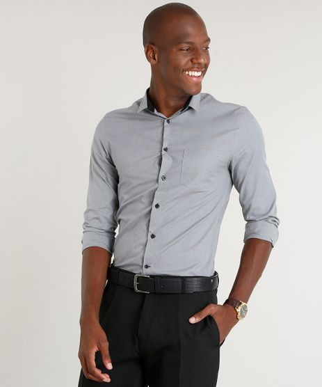 Camisa-Masculina-Slim-com-Bolso-Manga-Longa-Cinza-9100343-Cinza_1